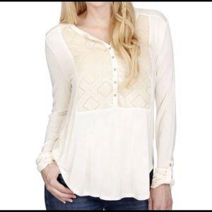Lucky Brand Ivory Long Sleeve Velvet Burnout Top S